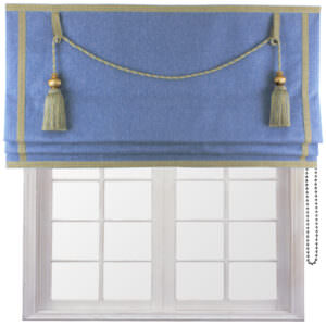 Made to Measure Royal Roman blind designed to add elegance to your home. Its luxurious large key tassels and matching trim will remain forever fashionable.