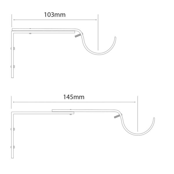 H8028B adjustable brackets for cosmos, quartz, astra curtain pole by from Design-JR